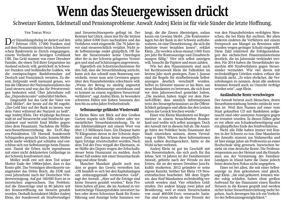 Artikel in der Sächsischen Zeitung