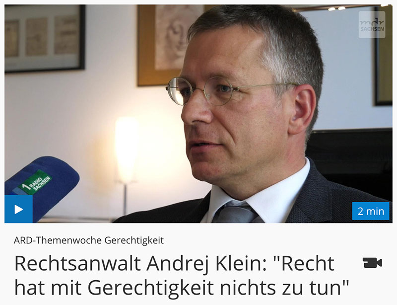 ARD Themenwoche Gerechtigkeit / Interview mit Rechtsanwalt Andrej Klein